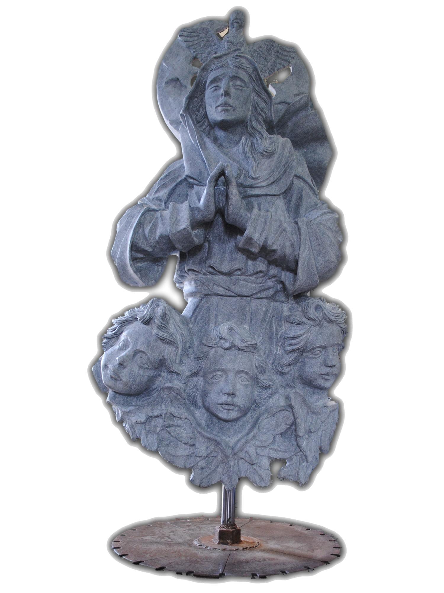 Escultura Em Pedra Sabão Assunção De Maria Esculpida A Mão