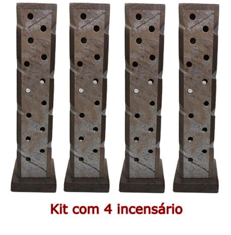 Kit com 4 Incensários e Luminárias de pedra sabão linda peça Tonalidade Natural