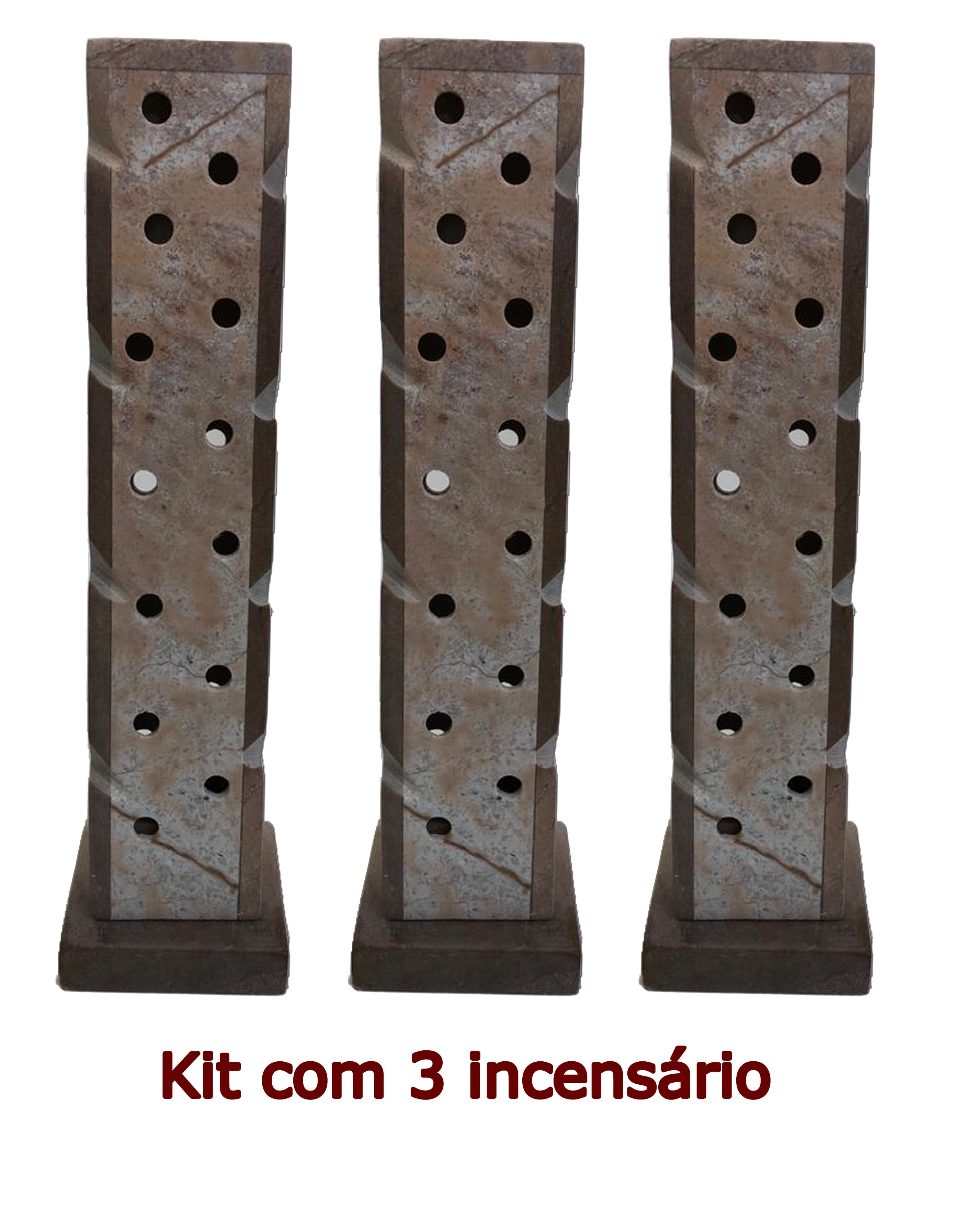 Kit 3 Incensários e Luminária de pedra sabão linda peça Tonalidade Natural  -