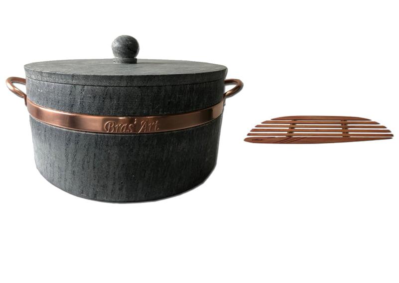 Panela 6 litros em pedra sabão + Suporte de madeira