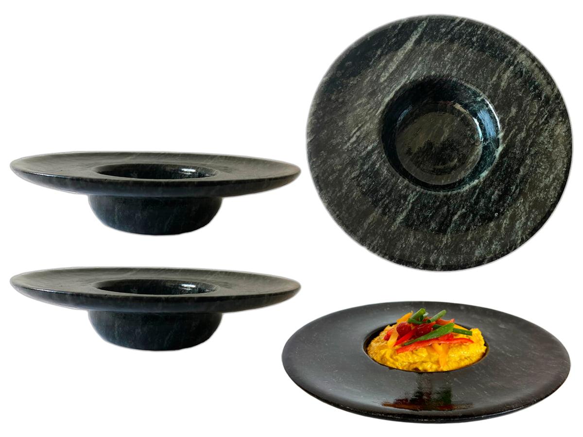Kit 4 pratos chapéu invertido em pedra sabão