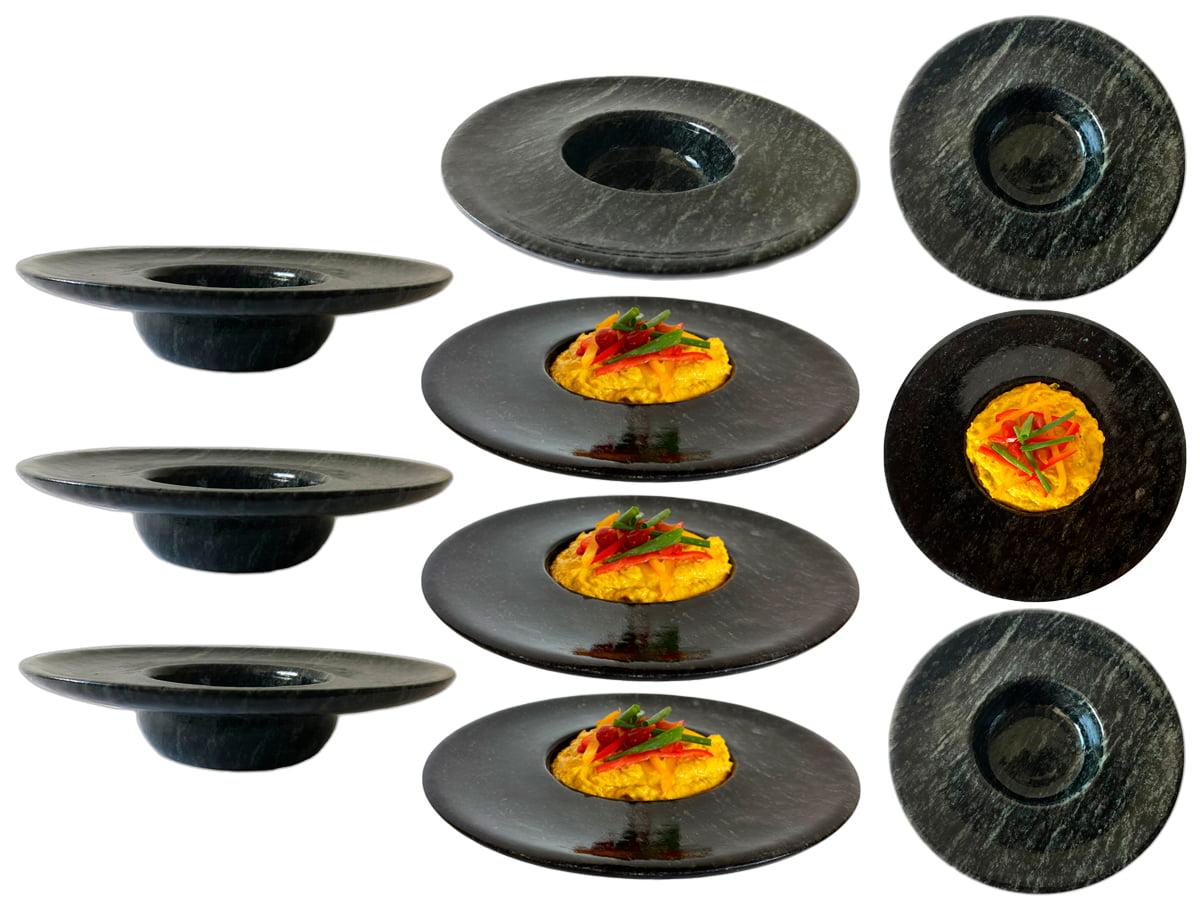 Kit 10 pratos chapéu invertido em pedra sabão ideal para servir risotos