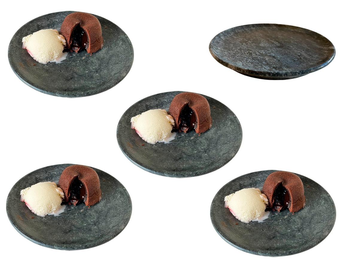 Kit 5 pratos de pedra sabão 15 centímetros de diâmetro ideal para sobremesas