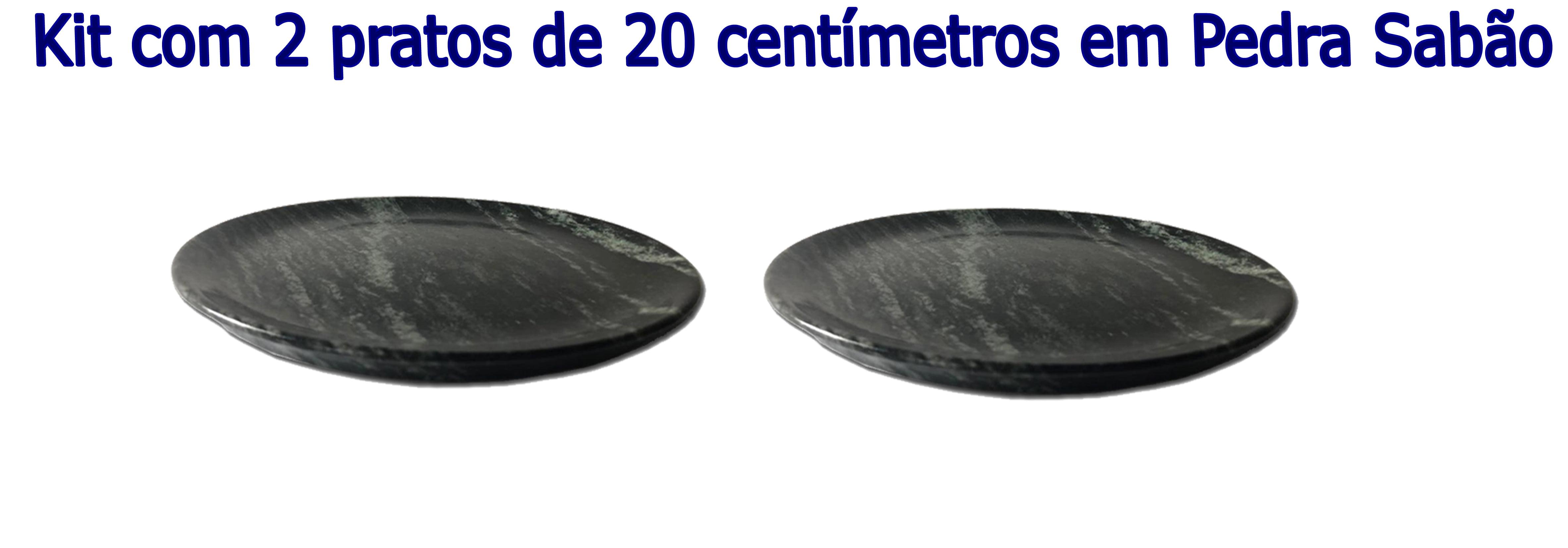 Kit Com 2 Pratos Raso Em Pedra Sabão 20 Cm De Diâmetro