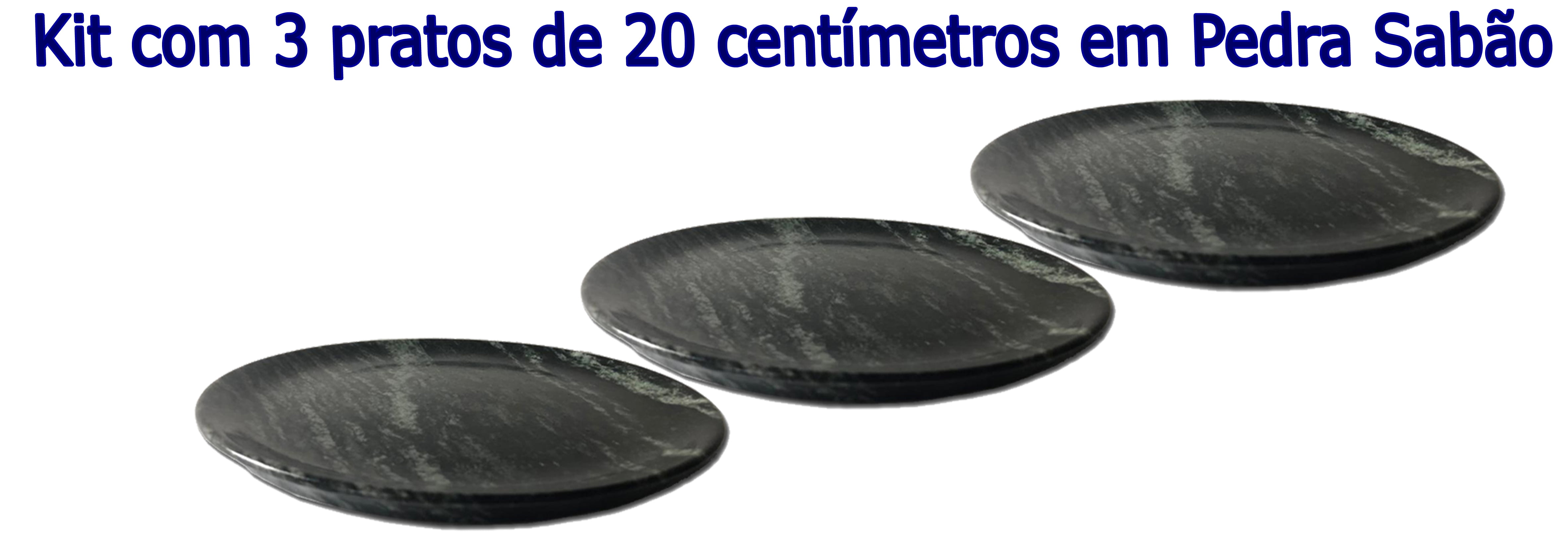 Kit Com 3 Pratos Raso Em Pedra Sabão 20 Cm De Diâmetro