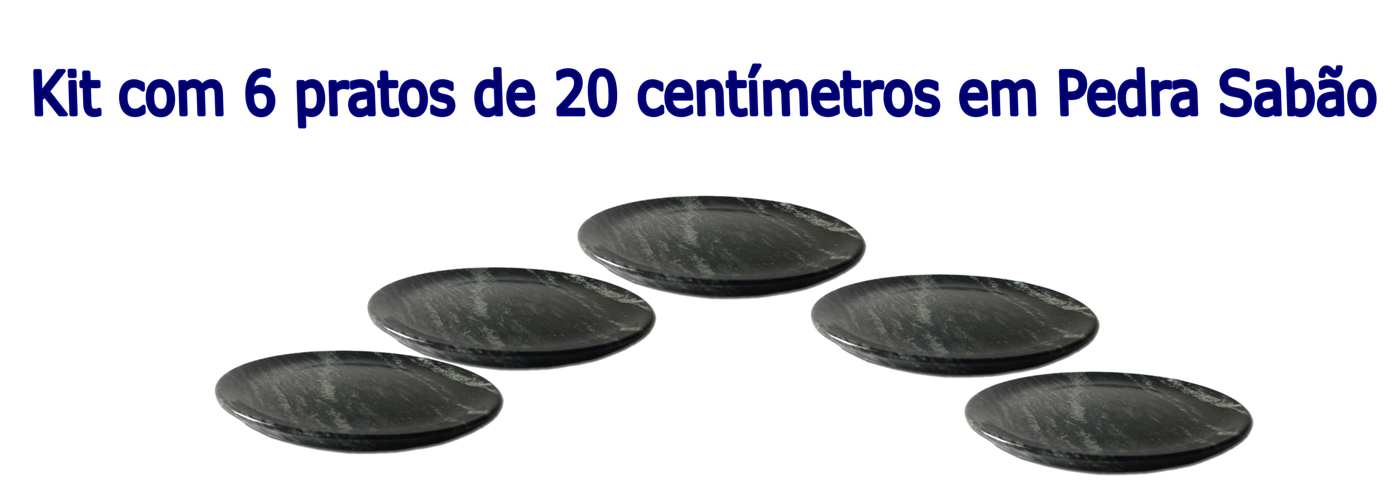 Kit Com 6 Pratos Raso Em Pedra Sabão 20 Cm De Diâmetro