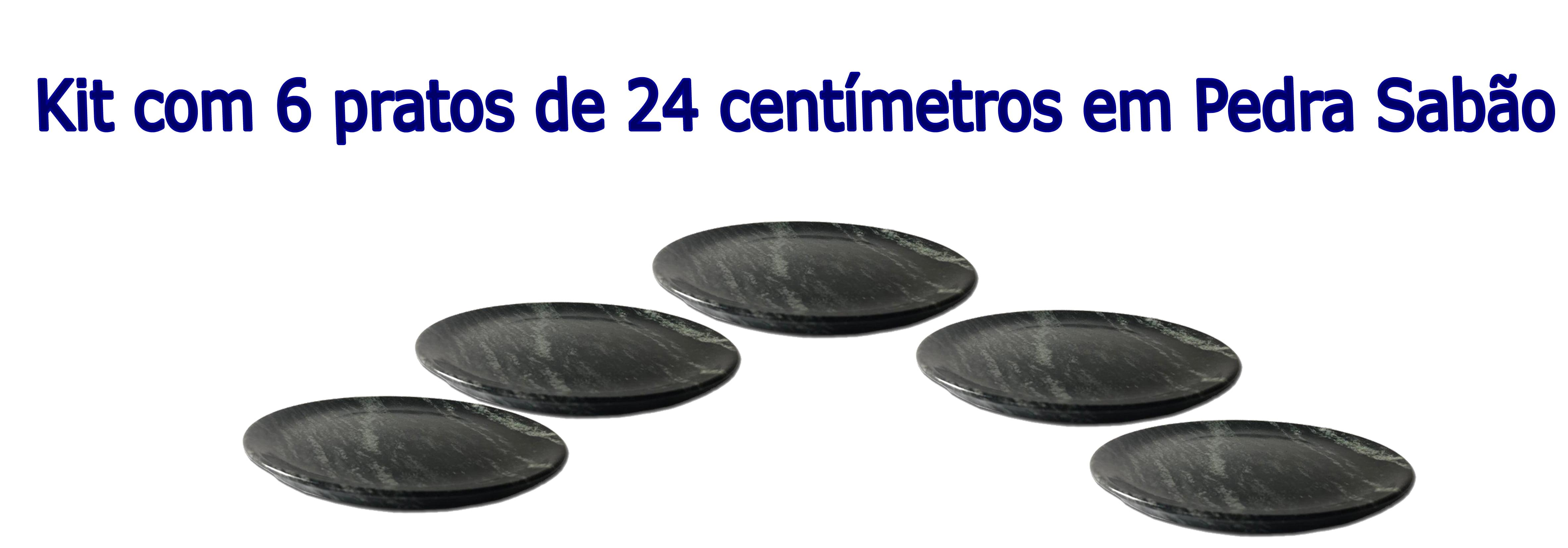 Kit Com 6 Pratos Raso Em Pedra Sabão 24 Cm De Diâmetro