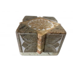 Porta Copo Decorado em Pedra Sabão