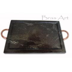 Chapa Retangular De Pedra Sabão Para Grelhar Carne 30x20 cm