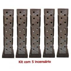 Kit com 5 Incensários e Luminárias de pedra sabão linda peça Tonalidade Natural