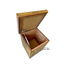 Banco baú de madeira com pintura patína