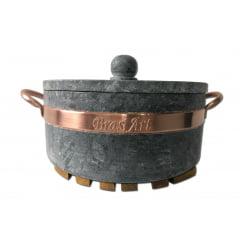 Panela de 3 litros em pedra sabão + suporte de madeira