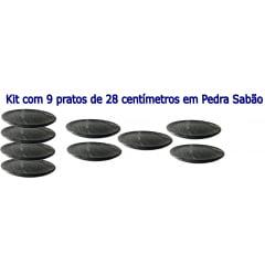 Kit Com 9 Pratos Raso Em Pedra Sabão 28 Cm De Diâmetro