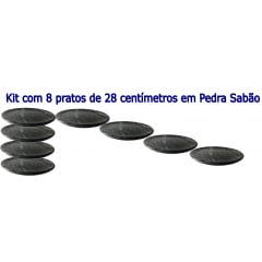 Kit Com 8 Pratos Raso Em Pedra Sabão 28 Cm De Diâmetro