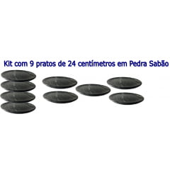 Kit Com 9 Pratos Raso Em Pedra Sabão 24 Cm De Diâmetro