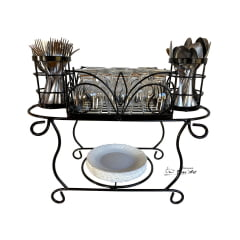 Escorredor de ferro com pintura eletrostatica para pratos,copos e talheres