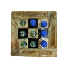 Jogo da velha tabuleiro caixa completo de pedra sabão