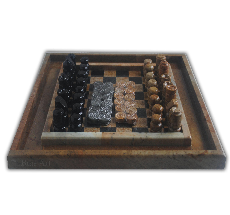 Jogo de xadrez 3 beiral em pedra sabão xadrez e dama